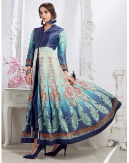 Party Wear Navy Blue Silk Slit Salwar Suit  - 80546