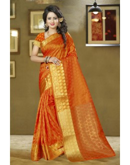 Ethnic Wear Orange Silk Saree - 80579