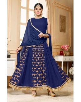 Festival Wear Navy Blue Georgette Anarkali Suit  - 80598