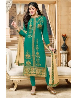 Ethnic Wear Green Georgette Salwar Suit  - 80602