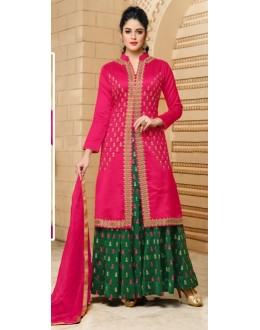Festival Wear Pink Cotton Lehenga Suit  - 80604