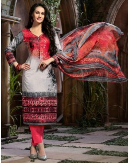 Ethnic Wear Grey & Pink Cotton Salwar Suit  - 80632