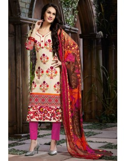 Festival Wear Cream & Pink Cotton Salwar Suit  - 80633