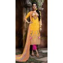 Office Wear Yellow & Pink Cotton Salwar Suit  - 80637