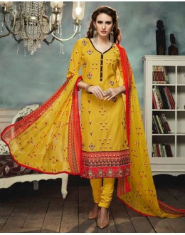 Ethnic Wear Yellow Georgette Salwar Suit  - 80695