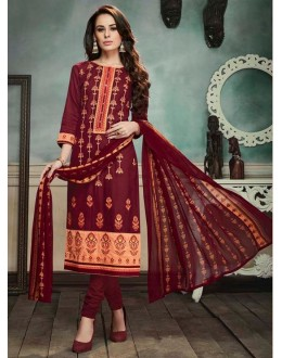 Office Wear Maroon Georgette Salwar Suit  - 80696