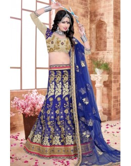 Traditional Blue Silk Lehenga Choli - 80838