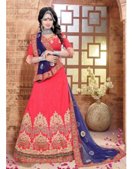Traditional Red Silk Lehenga Choli - 80840