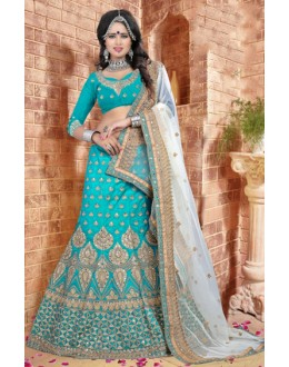 Wedding Wear Turquoise Silk Lehenga Choli - 80843