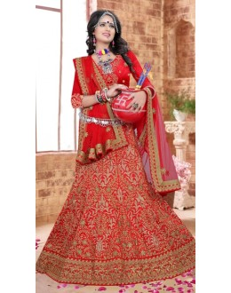 Wedding Wear Red Silk Lehenga Choli - 80844