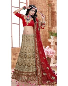 Bridal Wear Beige Silk Lehenga Choli - 80845