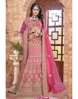 Wedding Wear Pink Silk Lehenga Choli - 80846