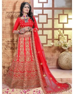 Bridal Wear Red Silk Lehenga Choli - 80847