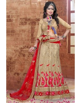 Traditional Beige Silk Lehenga Choli - 80849
