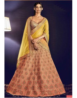 Bridal Wear Peach Lehenga Choli - 80964