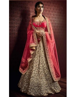 Traditional Beige & Pink Lehenga Choli - 80966