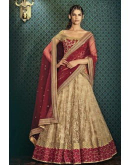 Wedding Wear Beige Net Lehenga Choli - 80967