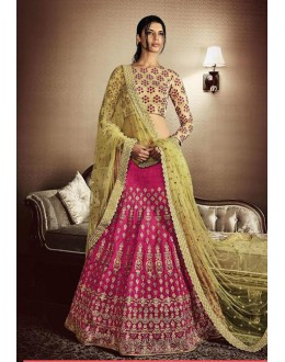 Bridal Wear Pink & Beige Lehenga Choli - 80968
