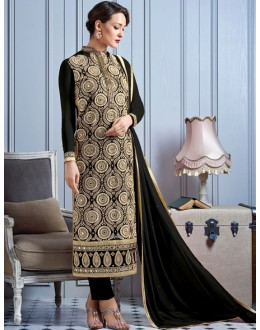 Party Wear Black Georgette Salwar Suit  - 81014