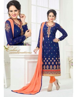Festival Wear Blue Georgette Salwar Suit - 81235