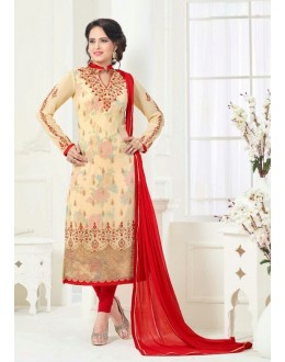 Party Wear Cream Georgette Salwar Suit - 81237