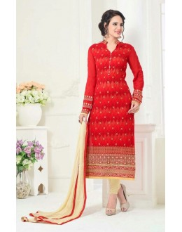 Ethnic Wear Red Georgette Salwar Suit - 81238