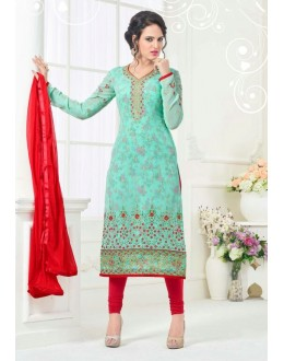 Office Wear Turquoise Georgette Salwar Suit - 81241