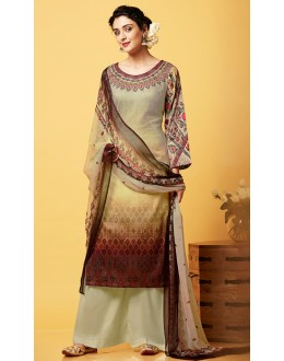 Ethnic Wear Brown Chiffon Palazzo Suit  - 81259