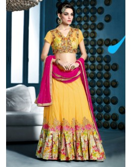 Traditional Yellow Net Lehenga Choli - 81284