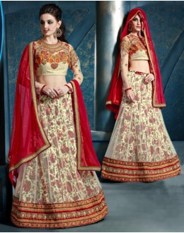 Festival Wear White Net Lehenga Choli - 81285