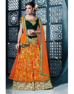 Ethnic Wear Orange Net Lehenga Choli - 81286