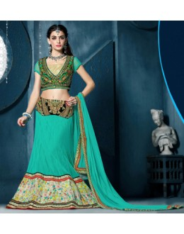 Traditional Green Net Lehenga Choli - 81290