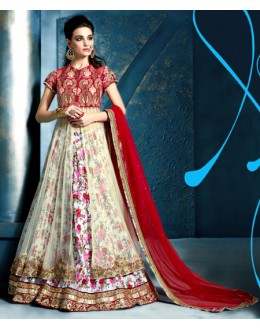 Party Wear White Satin Lehenga Suit - 81291