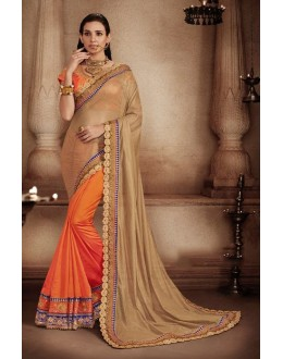 Ethnic Wear Briwn & Orange Art Silk Saree - 81302