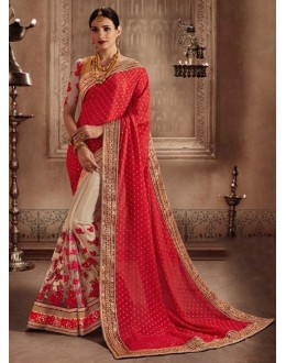 Jacquard Red & Beige Embroidery Saree - 81304