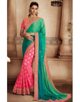 Wedding Wear Multi-Colour Jacquard Saree - 81305