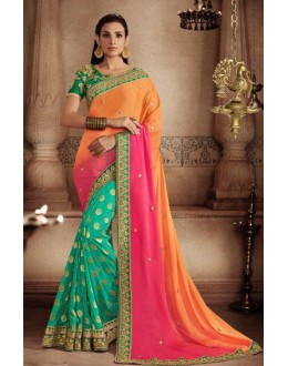 Jacquard Multi-Colour Designer Saree - 81306
