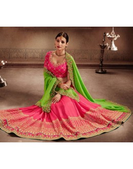 Festival Wear Green & Pink Chiffon Saree - 81308