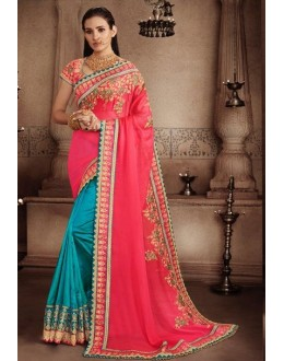 Wedding Wear Pink & Blue Art Silk Saree - 81309