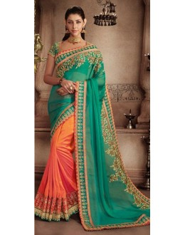 Wedding Wear Green & Orange Art Silk Saree - 81310