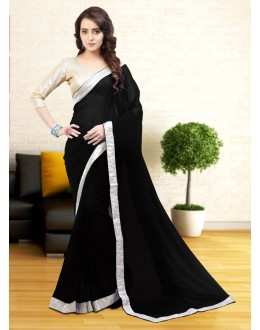 Party Wear Black Gerogette Saree  - 81629