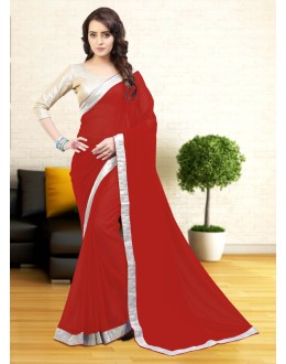 Ethnic Wear Red Gerogette Saree  - 81630