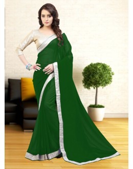 Green Colour Less Border Attractive Saree  - 81633