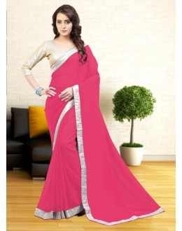 Party Wear Pink Gerogette Saree  - 81637