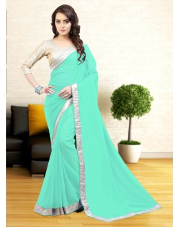 Turquoise Colour Lace Border Attractive Saree  - 81638