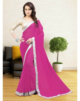 Gerogette Pink Attractive Saree  - 81641