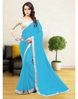 Party Wear Sky Blue Gerogette Saree  - 81642