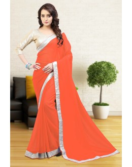 Ethnic Wear Orange Gerogette Saree  - 81643
