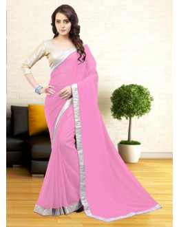 Gerogette Rose Pink Atrractive Saree  - 81644