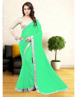 Party Wear Green Gerogette Attractive Saree  - 81645
